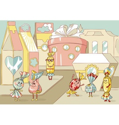 cartoon sweets characters vector image