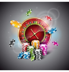casino with roulette wheel and chips vector image