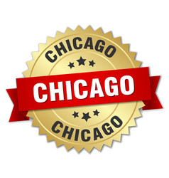 Chicago round golden badge with red ribbon vector