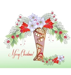 Christmas Card with Vase and Bouquet vector image