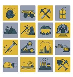 Coal mining icon set colour version design vector