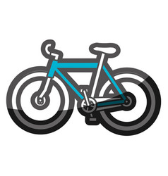 Color silhouette with blue sport bicycle vector
