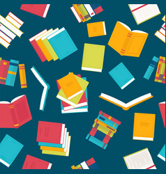 colorful seamless pattern with books library vector image