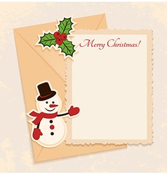 Congratulation gold retro background with snowman vector image