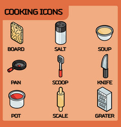 cooking color outline isometric icons vector image vector image