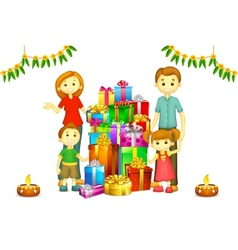 Family with Diwali Gift vector image vector image