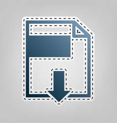 File download sign blue icon with outline vector