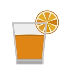 Glass orange juice with slice fruit vector