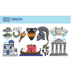 greece travel destination promotional poster with vector image