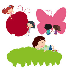 Happy children and silhouette insects vector