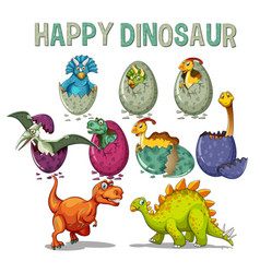 happy dinosaur with dinosaurs hatching eggs vector image
