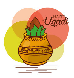 Happy ugadi greeting card celebration festival vector
