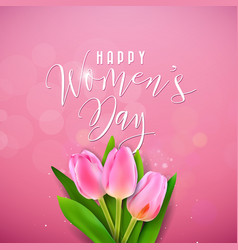 Happy womens day with tulip bouquet vector