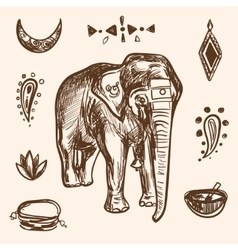 Indian Hand Drawn Hamsa with Elephant Arabi vector image