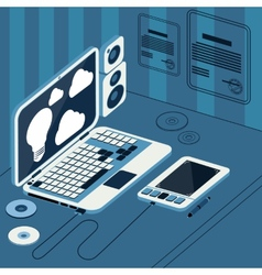Laptop with tablet and columns on table vector