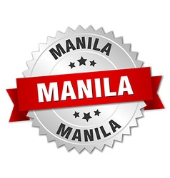 Manila round silver badge with red ribbon vector