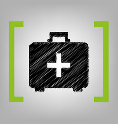 Medical first aid box sign black scribble vector