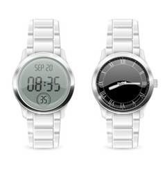 men watches analog and digital with chrome vector image vector image