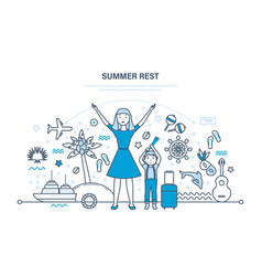 Mother with son rest in summer in warm countries vector