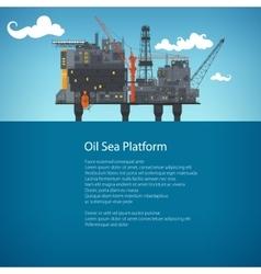 Offshore sea oil platform brochure design vector