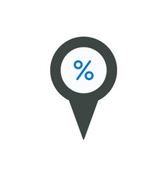 pin icon with percent sign symbol vector image