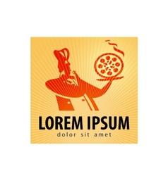 Pizza logo design template food or baking vector