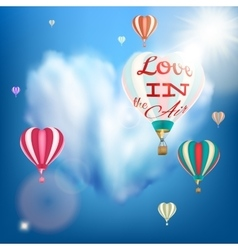 Romantic heart shaped air balloon eps 10 vector