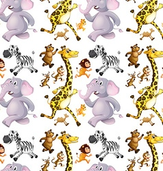 Seamless background with many animals running vector