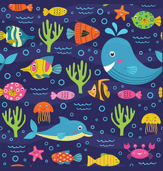 seamless pattern with marine animals vector image vector image
