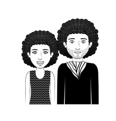Silhouette couple teenager with curly hair vector