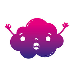 Silhouette surprised and cute cloud kawaii weather vector
