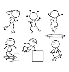 Silhouettes of the different activities vector image vector image