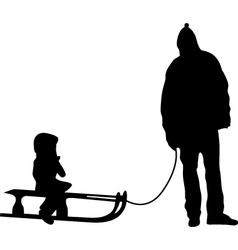 sledding silhouette vector image vector image
