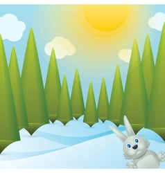 Snowy forest glade vector