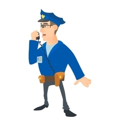 Speaking policeman icon cartoon style vector