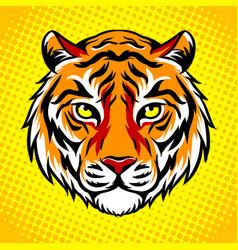 tiger head pop art style vector image