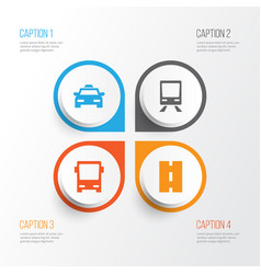 Transport icons set collection of cab railway vector
