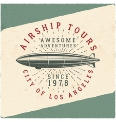 Vintage airship tee design retro dirigible poster vector