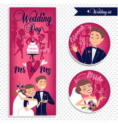 Wedding card and stickers vector