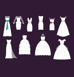 Wedding white bride dress elegance fashion vector
