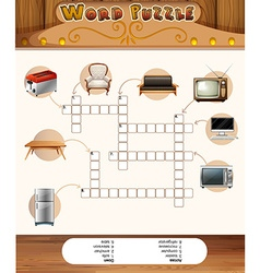 Word puzzle game with objects in the house vector image