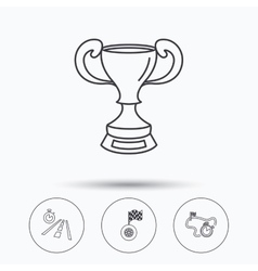 Winner cup race timer and flag icons vector