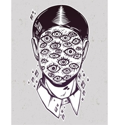 Portrait of a many eyed man with surreal face vector
