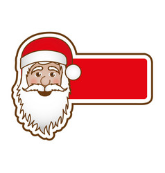 sticker banner with face cartoon santa claus vector image