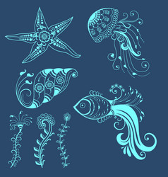 Abstract marine creatures in indian vector