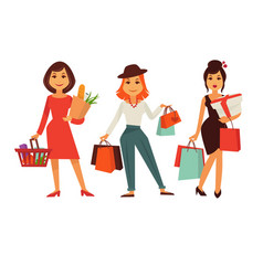 Shopping template poster with three women holding vector