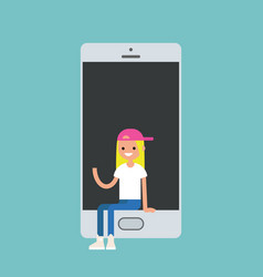 millennial girl sitting inside the smartphone and vector image