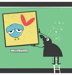 Character in museum with bird in frame vector