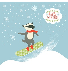 Badger is snowboarder vector