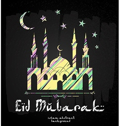 Greeting card design eid mubarak vector